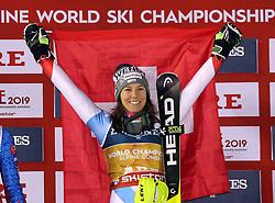 08.02.2019, WM Strecke, Aare, SWE, FIS Weltmeisterschaften Ski Alpin, alpine Kombination, Siegerehrung, Damen, im Bild Wendy Holdener (SUI) aus der Schweiz ist die alte und neue Weltmeisterin in der Super Kombination // Wendy Holdener (SUI) aus der Schweiz ist die alte und neue Weltmeisterin in der Super Kombination during the winner Ceremony for the ladie's alpine combination of FIS Ski World Championships 2019. WM Strecke in Aare, Sweden on 2019/02/08. EXPA Pictures © 2019, PhotoCredit: EXPA/ SM<br /> <br /> *****ATTENTION - OUT of GER*****