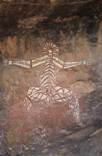 "Kakadu National Park, X-ray Aboriginal rock art,""""Nabulwin- ibulwinju"""". Australia."