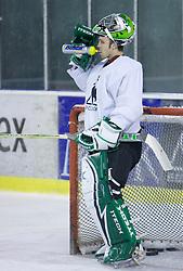 Goalkeeper Michael Morrison at ice hockey practice of HDD Tilia Olimpija,  on October 16, 2008 in Arena Tivoli, Ljubljana, Slovenia.  (Photo by Vid Ponikvar / Sportal Images)