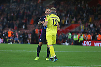 Football - 2019 / 2020 Premier League - Southampton vs. AFC Bournemouth<br /> <br /> Bournemouth's Steve Cook celebrates with Bournemouth's Aaron Ramsdale after the final whistle at St Mary's Stadium Southampton<br /> <br /> COLORSPORT/SHAUN BOGGUST