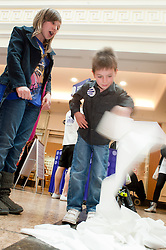 "Cadburys Spots vs Stripes Challenge Race Season Meadowhall Sheffield.7 Year Old Jack Hawkridge from Barnsley takes part in the ""Fastest Toilet Roller""..2 April 2011.Images © Paul David Drabble"