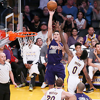 06 November 2016: Phoenix Suns guard Devin Booker (1) takes a jump shot over Los Angeles Lakers guard Nick Young (0) during the LA Lakers 119-108 victory over the Phoenix Suns, at the Staples Center, Los Angeles, California, USA.