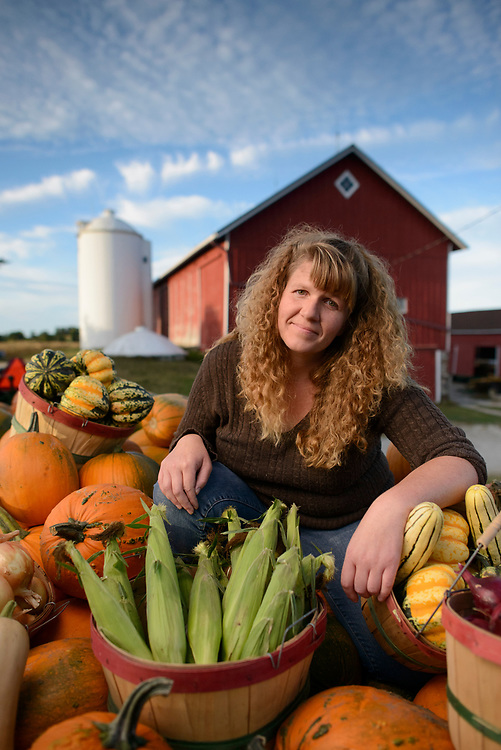 Farmer Tammy Tietz with some of their produce from Tietz Farms near Watertown, Wisconsin.