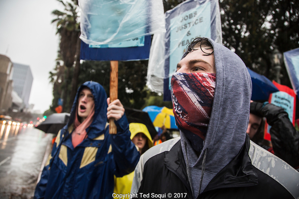 Anti-Trump protest in downtown Los Angeles.<br /> Several groups met up at LA City Hall to rally and protest against the Trump Presidential Inaugural.