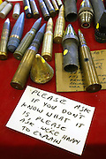 A variety of ammunition on sale during the Knob Creek Machine Gun Shoot near West Point, Kentucky April 10, 2005. Thousands of machine gun and military hardware enthusiasts attended the event held each year over weekends in the spring and fall.