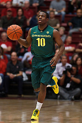 January 27, 2011; Stanford, CA, USA;  Oregon Ducks guard Johnathan Loyd (10) dribbles the ball up court against the Stanford Cardinal during the first half at Maples Pavilion.  Oregon defeated Stanford 67-59.