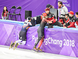February 17, 2018 - Pyeongchang, Gangwon, South Korea - Samuel Girard of  Canada and John-Henry Krueger of  United States celebrating their medals in 1000 meter speed skating  at Gangneung Ice Arena, Gangneung, South Korea on 17 February 2018. (Credit Image: © Ulrik Pedersen/NurPhoto via ZUMA Press)
