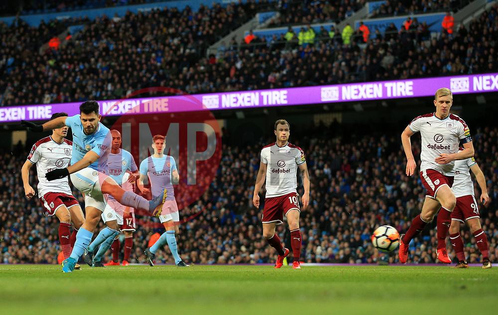 Sergio Aguero of Manchester City scores the equalising goal to make it 1-1 - Mandatory by-line: Matt McNulty/JMP - 06/01/2018 - FOOTBALL - Etihad Stadium - Manchester, England - Manchester City v Burnley - Emirates FA Cup Third Round