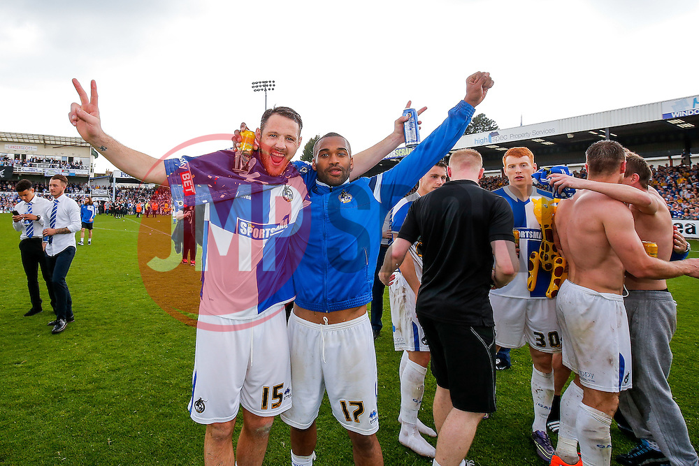 Tom Parkes and Jermaine Easter celebrate after Bristol Rovers win the match in injury time to secure 3rd place in League 2, back to back promotions and a place in Sky Bet League 1 for 2016/17 - Mandatory byline: Rogan Thomson/JMP - 08/03/2016 - FOOTBALL - Memorial Stadium - Bristol, England - Bristol Rovers v Dagenham & Redbridge - Sky Bet League 2.
