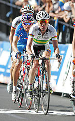 (Geelong, Australia---03 October 2010) Cadel Evans of Australia racing in the elite men's road race in the 2010 UCI Road World Championships, held in Geelong, Victoria, Australia. Photograph 2010 copyright Sean Burges / Mundo Sport Images