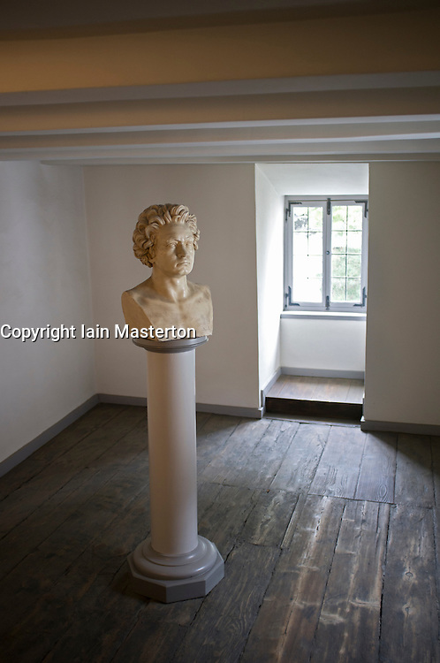 Bust of composer at Beethoven Museum in house where composer was born in Bonn Germany