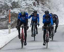 23.03.2018, Rad-WM-Strecke, Innsbruck, AUT, Testbefahrung der Strecke für die UCI Straßenrad WM 2018 in Innsbruck-Tirol mit der italienischen Nationalmannschaft, im Bild v.l.: Alessandro De Marchi und Vincenzo Nibali // during a test inspection of the track with the italian cycling team for the UCI 2018 UCI Road World Championships in Innsbruck-Tirol, Austria on 2018/03/23. EXPA Pictures © 2018, PhotoCredit: EXPA/ Jakob Gruber// during a test inspection of the track with the italian cycling team for the UCI 2018 UCI Road World Championships in Innsbruck-Tirol, Austria on 2018/03/23. EXPA Pictures © 2018, PhotoCredit: EXPA/ Jakob Gruber