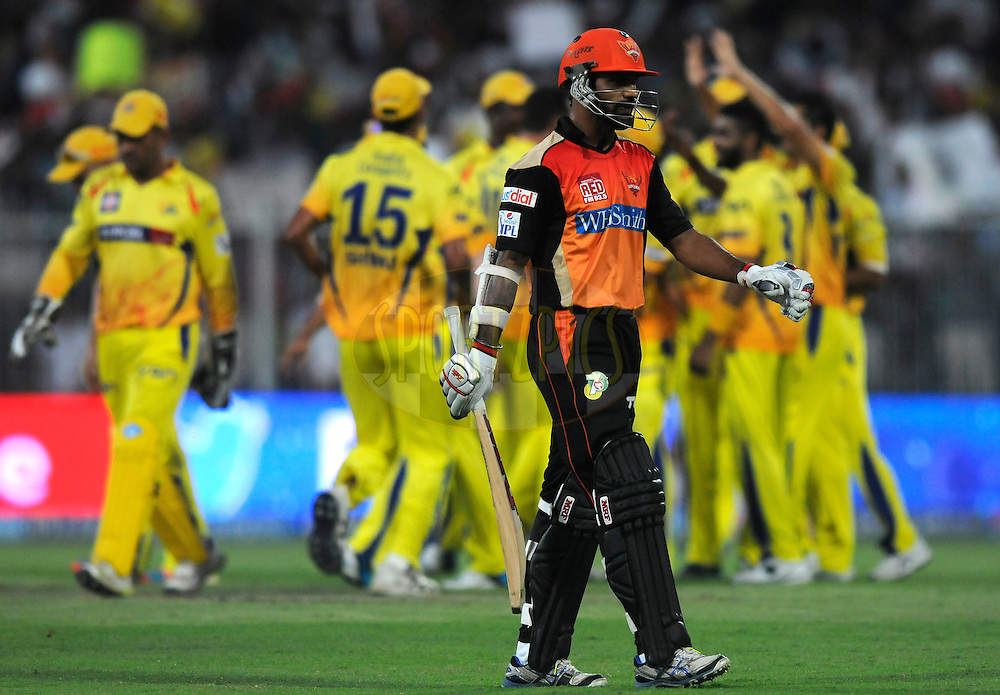 Shikhar Dhawan captain of the Sunrisers Hyderabad walks back after getting out during match 16 of the Pepsi Indian Premier League 2014 between the Delhi Daredevils and the Mumbai Indians held at the Sharjah Cricket Stadium, Sharjah, United Arab Emirates on the 27th April 2014<br /> <br /> Photo by Pal Pillai / IPL / SPORTZPICS