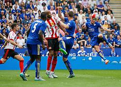 Jamie Vardy of Leicester City (R) has a shot on goal  - Mandatory byline: Jack Phillips/JMP - 07966386802 - 08/08/2015 - SPORT - FOOTBALL - Leicester - King Power Stadium - Leicester City v Sunderland - Barclays Premier League