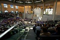 17 OCT 2003, BERLIN/GERMANY:<br /> Uebersicht, Plenum, Deutscher Bundestag<br /> IMAGE: 20031017-01-042<br /> KEYWORDS: Übersicht, Uebersicht, Plenum, Plenarsaal, Saal, Bundesadler, Adler, Reichstag