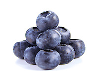 Studio shot of blueberries on white background