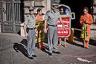 Roma 25 Giugno 2015<br /> Attivisti di Greenpeace hanno manifestato davanti al Ministero delle Politiche Agricole per fermare il saccheggio dei nostri mari. Gli attivisti travestiti da acciughe in scatola per denunciare il collasso delle popolazioni di acciughe da anni sottoposte a pesca intensiva. Le guardie forestali allontanano gli attivisti di Greenpeace dall'ingresso del ministero.<br /> Rome June 25, 2015<br /> Greenpeace activists protested outside the Ministry of Agriculture to stop the looting of our seas. Activists dressed as canned anchovies denouncing the collapse of populations of anchovies for years subjected to intensive fishing. The Rangers, move the Greenpeace activists from the entrance of the ministry.