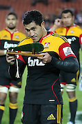 Mils Muliaina during the post game presentation for his 100th game after the Investec Super 15 Rugby match, Chiefs v Stormers, at Waikato Stadium, Hamilton, New Zealand, Saturday 14 May 2011. Photo: Dion Mellow/photosport.co.nz