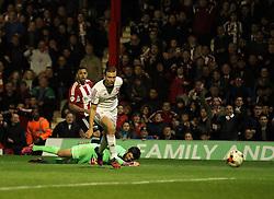 Brentford's Andre Gray scores - Photo mandatory by-line: Robbie Stephenson/JMP - Mobile: 07966 386802 - 08/05/2015 - SPORT - Football - Brentford - Griffin Park - Brentford v Middlesbrough - Sky Bet Championship