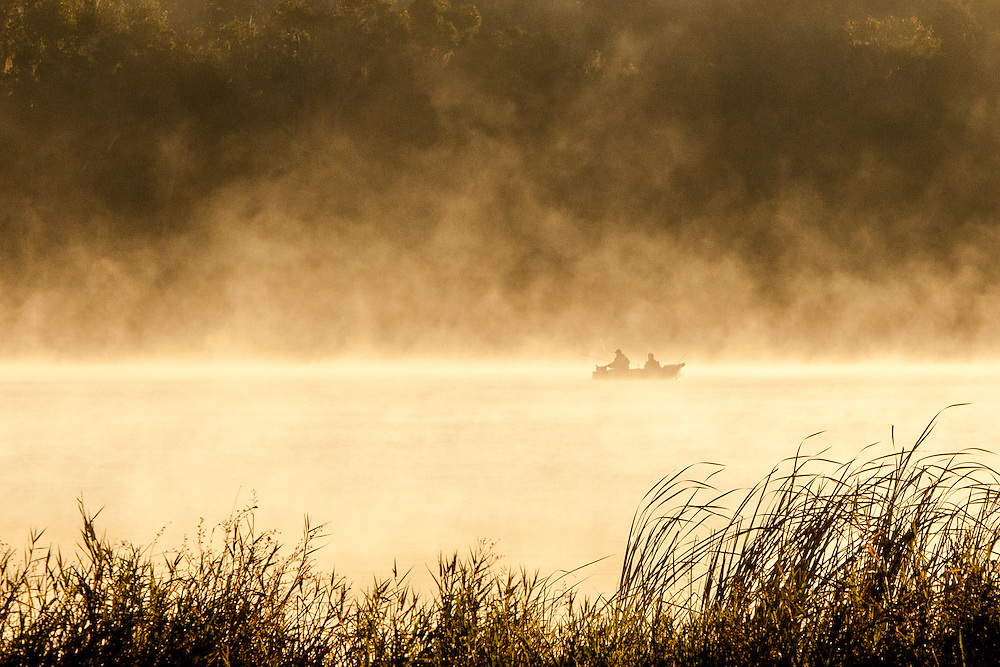 Fishermen on the St. John River in Foggy Morning Sunlight