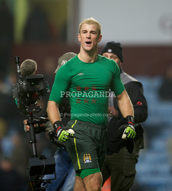 BIRMINGHAM, ENGLAND - Sunday, February 12, 2012: Manchester City's goalkeeper Joe Hart celebrates after the 1-0 victory over Aston Villa during the Premiership match at Villa Park. (Pic by David Rawcliffe/Propaganda)
