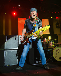 © Licensed to London News Pictures. 16/10/2013. London, UK.   Deep Purple performing live at The Roundhouse. Deep Purple consist of members Ian Paice (drums, percussion),<br /> Roger Glover (bass),Ian Gillan (vocals),Steve Morse (guitar), Don Airey (organ).  In this pic - Roger Glover (left), Ian Paice (right). Photo credit : Richard Isaac/LNP