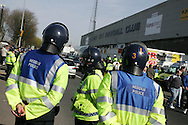 Police out in force before the match.Coca Cola Championship match, Cardiff City v Swansea City at Ninian Park, Cardiff on Sunday 5th April 2009. pic by Andrew Orchard, Andrew Orchard sports photography.