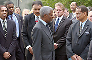 New York, NY, USA, Sep. 19th 2003: UN held a ceremony for the International Day of Peace at the UN Headquarters in New York friday.<br /> <br /> The ceremony started with Kofi Annan striking the Japanese  Peace Bell from Hiroshima, accompanied by his wife Nane Annan and the Messengers of Peace. <br /> Messengers of Peace:<br /> -Mr. Muhammad Ali, former Heavyweight Boxing Champion,<br /> -Ms. Anna Cataldi, Author and Journalist,<br /> -Mr. Michael Douglas, Actor,<br /> -Ms. Jane Goodall, Environmentalist, and<br /> -Mr. Elie Wiesel, Nobel Laureate/Writer<br /> <br /> <br /> Kofi Annan with Muhammed Ali and Michael Douglass. <br />   *** Local Caption *** , posted on Corbis web ,