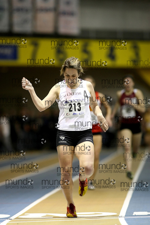 Windsor, Ontario ---14/03/09--- Jacqueline Malette of  the University of Ottawa competes in the Women's 1500m Final at the CIS track and field championships in Windsor, Ontario, March 14, 2009..Sean Burges Mundo Sport Images