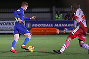 AFC Wimbledon midfielder Alfie Eagan (28) on his way to dscore during the EFL Trophy group stage match between AFC Wimbledon and Stevenage at the Cherry Red Records Stadium, Kingston, England on 6 November 2018.