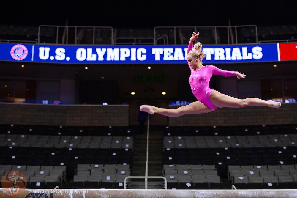 June 29, 2012; San Jose, CA, USA; Nastia Liukin warms up on the balance beam during the 2012 USA Gymnastics Olympic Team Trials at HP Pavilion.