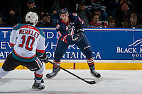 KELOWNA, CANADA - JANUARY 7: Dallas Valentine #6 of the Kamloops Blazers passes the puck against the Kelowna Rockets on January 7, 2017 at Prospera Place in Kelowna, British Columbia, Canada.  (Photo by Marissa Baecker/Shoot the Breeze)  *** Local Caption ***