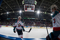KELOWNA, CANADA - FEBRUARY 17: Braydyn Chizen #22 of the Kelowna Rockets skates to the bench at the end of a shift against the Edmonton Oil Kings  on February 17, 2018 at Prospera Place in Kelowna, British Columbia, Canada.  (Photo by Marissa Baecker/Shoot the Breeze)  *** Local Caption ***