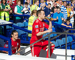 LIVERPOOL, ENGLAND - Saturday, October 1, 2011: Liverpool's Charlie Adam walks out to face Everton during the Premiership match at Goodison Park. (Pic by David Rawcliffe/Propaganda)