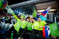 Slovenian fans before handball match between National teams of Slovenia and Macedonia on Day 2 in Preliminary Round of Men's EHF EURO 2018, on January 13, 2018 in Arena Zagreb, Zagreb, Croatia. Photo by Ziga Zupan / Sportida