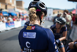 Emilie Moberg (NOR) of Hitec Products Cycling Team removes her radio headphone after Stage 8 of the Giro Rosa - a 141.8 km road race, between Baronissi and Centola fraz. Palinuro on July 7, 2017, in Salerno, Italy. (Photo by Balint Hamvas/Velofocus.com)