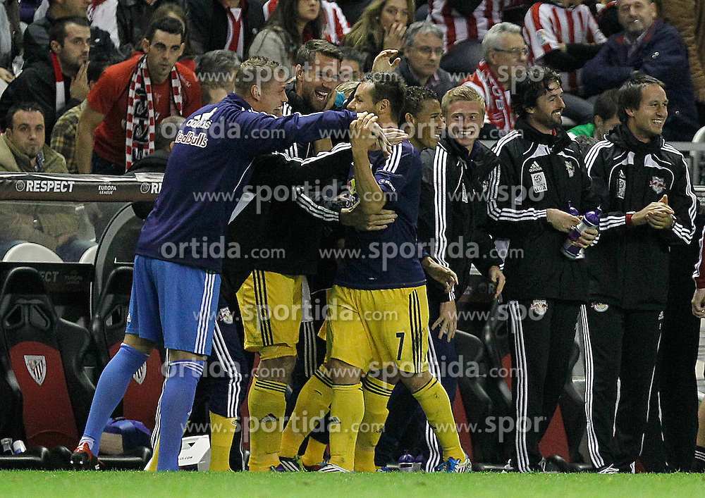 20.10.2011, San Mames Stadion, Bilbao, ESP, UEFA EL, Gruppe F, Athletic Bilbao (ESP) vs RB Salzburg (AUT), im Bild FC Salzburg's Roman Wallner (c) celebrates goal with his partners  // during UEFA Europa League group F match between Athletic Bilbao (ESP) vs RB Salzburg (AUT) at San Mames Stadium, Bilbao, Spain on 20/10/2011. EXPA Pictures © 2011, PhotoCredit: EXPA/ Alterphoto/ Acero +++++ ATTENTION - OUT OF SPAIN/(ESP) +++++