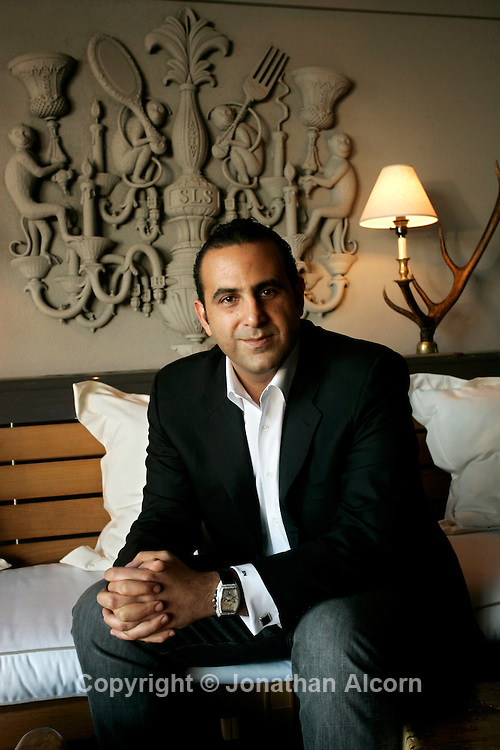 Sam Nazarian at his new hotel, the SLS Hotel at Beverly Hills. his company, SBE,  owns and operates hotel, restaurant and nightlife venues .