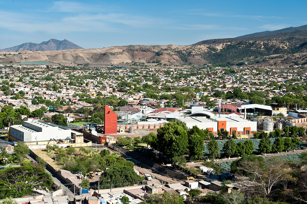José Cuervo's main distillery, adorned with the brand's trademark crow, dominates the view of the town of Tequila. Tequila, a pre-Hispanic town of about 30,000 inhabitants, lies forty miles northwest of Guadalajara.