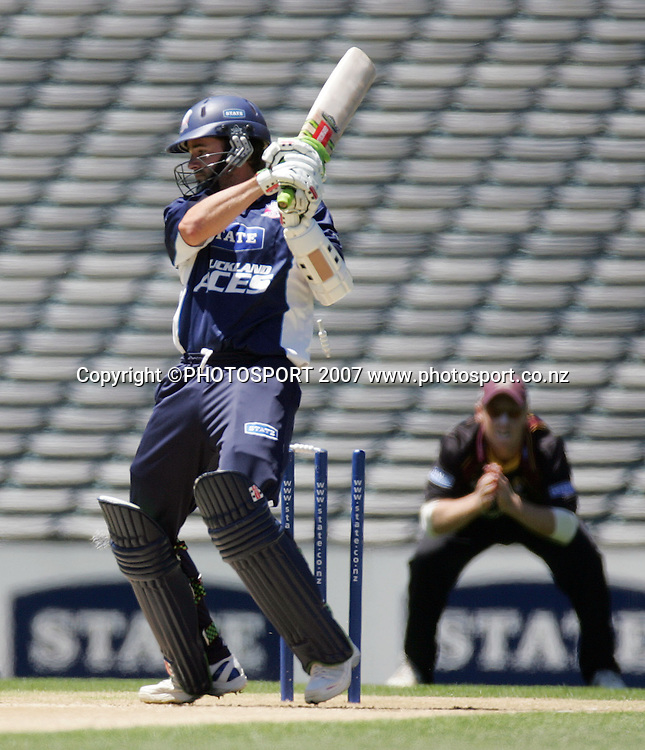 Auckland's Paul Hitchcock is bowled. State Auckland Aces v State Northern Knights. State Shield Cricket. Eden Park Outer Oval, Auckland, New Zealand. Sunday 30 December 2007. Photo: Hagen Hopkins/PHOTOSPORT