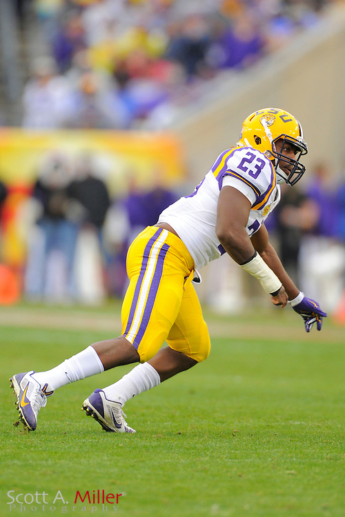 LSU Tigers  linebacker Lamar Louis (23) during LSU's 21-14 win over the Iowa Hawkeyes in the 2014 Outback Bowl at Raymond James Stadium on Jan 1, 2014  in Tampa, Florida. ©2014 Scott A. Miller
