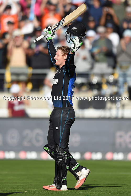 Martin Guptill celebrates the first ODI double century for a New Zealand batsman during the ICC Cricket World Cup Quaterfinal match between New Zealand and West Indies at Westpac Stadium in Wellington, New Zealand. Saturday 21  March 2015. Copyright Photo: Raghavan Venugopal / www.photosport.co.nz