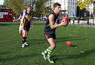 Picture by Paul Terry/SLIK images +44 7545 642257. 2nd November 2012. .Western Bulldogs and Port Adelaide Photo call at Marble arch ahead of Saturday's Elastoplast AFL European Challenge at Kia Oval in London, UK