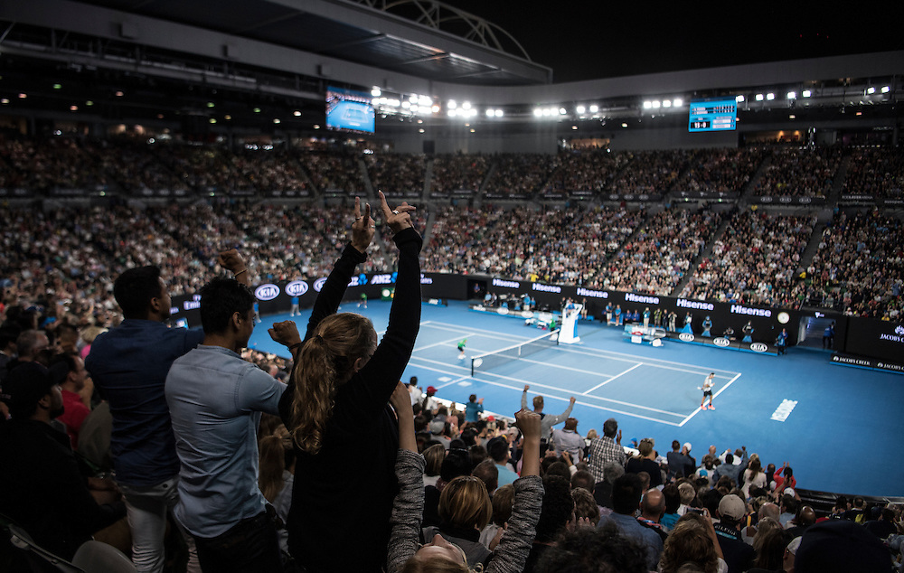 Fans on day eleven of the 2017 Australian Open at Melbourne Park on January 26, 2017 in Melbourne, Australia.<br /> (Ben Solomon/Tennis Australia)