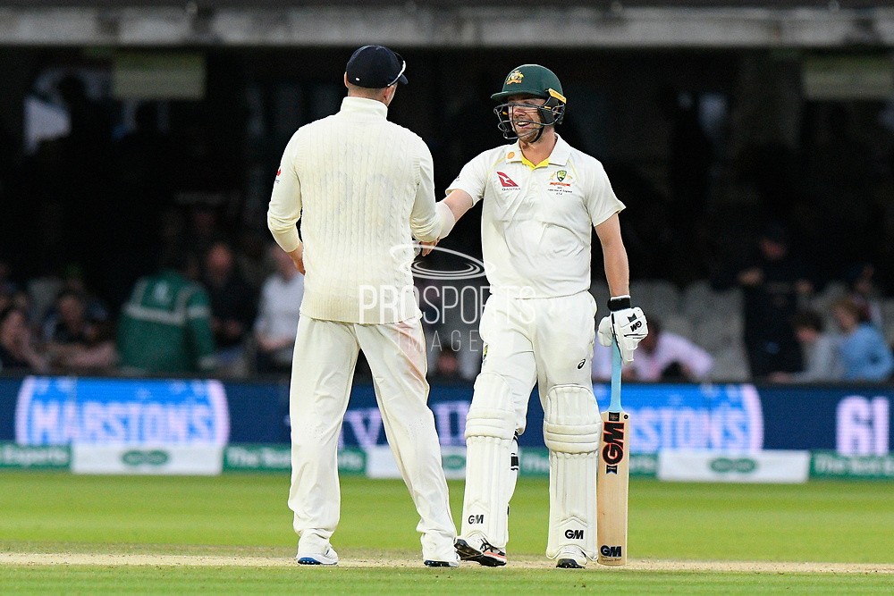 Match drawn - Travis Head of Australia shakes hands with Jason Roy of England as the match ends as a draw during the International Test Match 2019 match between England and Australia at Lord's Cricket Ground, St John's Wood, United Kingdom on 18 August 2019.