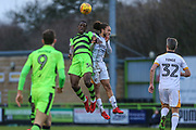 Forest Green Rovers Isaiah Osbourne(34) and Port Vale's Marcus Harness(7) go to head the ball during the EFL Sky Bet League 2 match between Forest Green Rovers and Port Vale at the New Lawn, Forest Green, United Kingdom on 6 January 2018. Photo by Shane Healey.