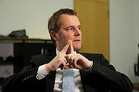 09 FEB 2012, BERLIN/GERMANY:<br /> Daniel Bahr, FDP, Bundesgesundheitsminister, waehrend einem Interview, in seinem Buero, Bundesministerium fuer Gesundheit<br /> IMAGE: 20120209-02-021<br /> KEYWORDS: Büro