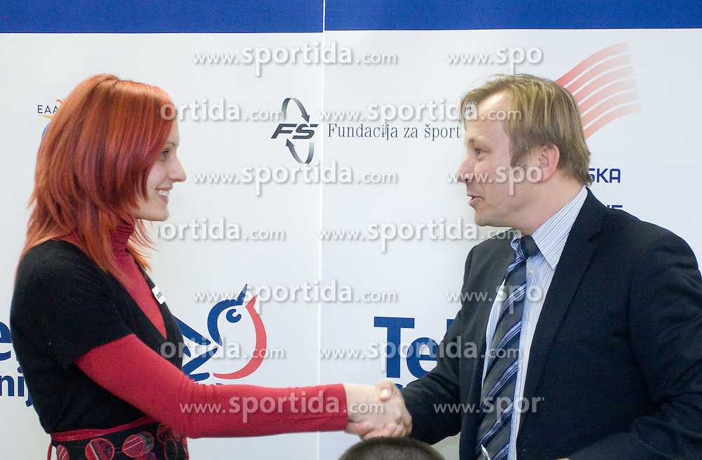 Nina Kolaric and Peter Kukovica when Slovenian athletes and their coaches sign contracts with Athletic federation of Slovenia for year 2009,  in Ljubljana, Slovenia, on March 2, 2009. (Photo by Vid Ponikvar / Sportida)