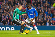 Sheyi Ojo (#11) of Rangers FC steps inside Artur Jedrzejczyk (#55) of Legia Warsaw during the Europa League Play Off leg 2 of 2 match between Rangers FC and Legia Warsaw at Ibrox Stadium, Glasgow, Scotland on 29 August 2019.