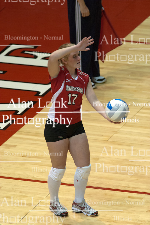 29 October 2005: Redbird Amy Olson serving. In three games, the Illinois State Redbirds ran past the Salukis of Southern Illinois University. The matchup took place at Redbird Arena on the campus of Illinois State University in Normal IL